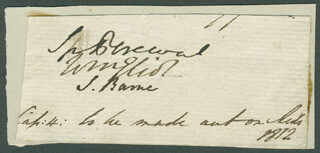 Autographs: PRIME MINISTER SPENCER PERCEVAL (GREAT BRITAIN) - SIGNATURE(S) CIRCA 1812 CO-SIGNED BY: WILLIAM 2ND EARL OF ST GERMANS ELIOT, SNOWDON BARNE