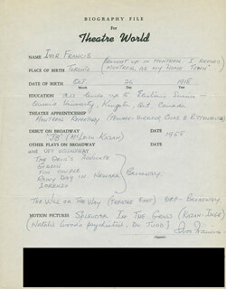 IVOR FRANCIS - AUTOGRAPH RESUME SIGNED