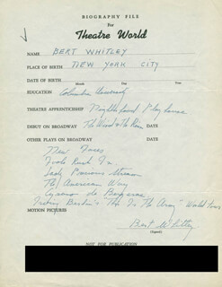 BERT WHITLEY - AUTOGRAPH RESUME SIGNED