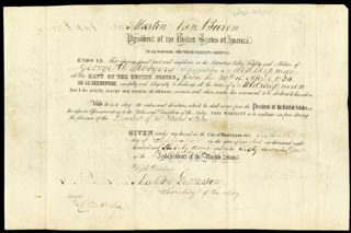 Autographs: PRESIDENT MARTIN VAN BUREN - NAVAL APPOINTMENT SIGNED 09/16/1837 CO-SIGNED BY: L.B. HARDIN, MAHLON DICKERSON