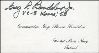 Autographs: COMMANDER GUY P. LUCKY PIERRE BORDELON JR. - CALLING CARD SIGNED