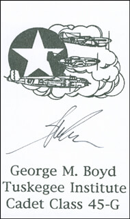 Autographs: MAJOR GEORGE M. BOYD - PRINTED CARD SIGNED IN INK