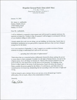 BRIGADIER GENERAL ROBIN OLDS - TYPED LETTER SIGNED 01/19/2002