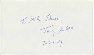 TONY RANDALL - INSCRIBED SIGNATURE 07/26/1989