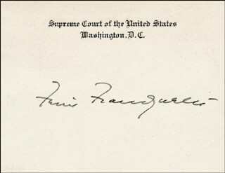 ASSOCIATE JUSTICE FELIX FRANKFURTER - SUPREME COURT CARD SIGNED