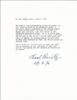 Autographs: GRAND ADMIRAL KARL DONITZ - TYPESCRIPT SIGNED 03/29/1976