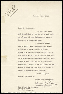 EDWARD G. ROBINSON - TYPED LETTER SIGNED 01/24/1942