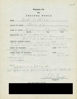 DICK O'NEILL - AUTOGRAPH RESUME SIGNED