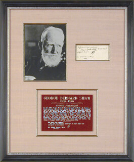 Autographs: GEORGE BERNARD SHAW - AUTOGRAPH NOTE SIGNED 06/19/1917