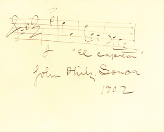 JOHN PHILIP THE MARCH KING SOUSA - AUTOGRAPH MUSICAL QUOTATION SIGNED 1902