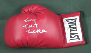 TONY T.N.T. TUCKER - BOXING GLOVE SIGNED