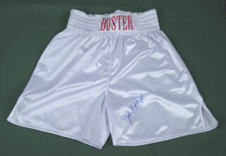 Autographs: JAMES BUSTER DOUGLAS - BOXING TRUNKS SIGNED