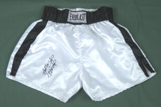 MARK TOO SHARP JOHNSON - BOXING TRUNKS SIGNED