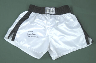 JUNIOR POISON JONES - BOXING TRUNKS SIGNED