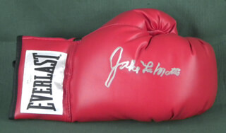 Autographs: JAKE THE RAGING BULL LA MOTTA - BOXING GLOVE SIGNED