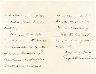 GEORGE WILLIAM CURTIS - AUTOGRAPH LETTER SIGNED 06/12/1884