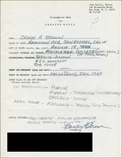 CANDY A. BROWN - AUTOGRAPH RESUME SIGNED