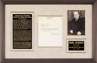 CHIEF JUSTICE EARL WARREN - TYPED LETTER SIGNED 04/01/1965