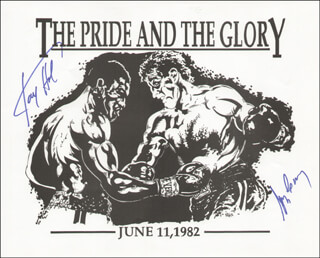 LARRY HOLMES - PRINTED ART SIGNED IN INK CO-SIGNED BY: GERRY COONEY