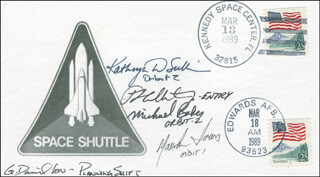 CAPTAIN KATHRYN D. SULLIVAN - COMMEMORATIVE ENVELOPE SIGNED CO-SIGNED BY: CAPTAIN MIKE BAKER, MARSHA IVINS, G. DAVID LOW, P.J. CULBERTSON