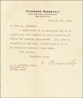 Autographs: PRESIDENT THEODORE ROOSEVELT - TYPED LETTER SIGNED 02/04/1915