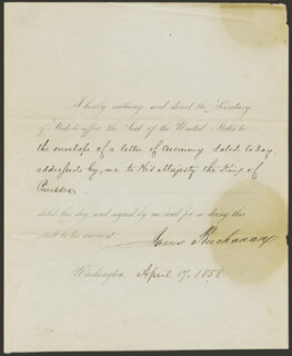 PRESIDENT JAMES BUCHANAN - PRESIDENTIAL WARRANT SIGNED 04/17/1858