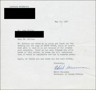 EDITH WEISSMAN - TYPED LETTER SIGNED 05/10/1967