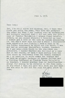 LEWIS B. FUNKE - TYPED LETTER SIGNED 06/03/1974