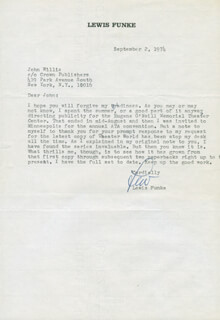 LEWIS B. FUNKE - TYPED LETTER SIGNED 09/02/1974