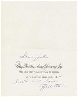 JULIETTE KOKA - INSCRIBED CHRISTMAS / HOLIDAY CARD SIGNED