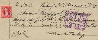 PRESIDENT WILLIAM McKINLEY - AUTOGRAPHED SIGNED CHECK 08/01/1898