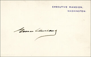 PRESIDENT GROVER CLEVELAND - WHITE HOUSE CARD SIGNED