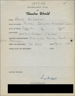 HENRY WILCOXON - AUTOGRAPH RESUME SIGNED