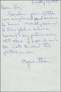 MYRNA STROM - AUTOGRAPH LETTER SIGNED 1971