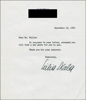 LILIA SKALA - TYPED NOTE SIGNED 09/22/1970