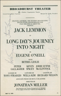 LONG DAY'S JOURNEY INTO NIGHT PLAY CAST - SHOW BILL SIGNED CO-SIGNED BY: JACK LEMMON, KEVIN SPACEY, PETER GALLAGHER, BETHEL LESLIE