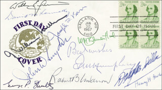 Autographs: C. DOUGLAS DILLON - FIRST DAY COVER SIGNED CO-SIGNED BY: DAVID M. KENNEDY, GEORGE P. SHULTZ, W. MICHAEL BLUMENTHAL, JOHN W. SNYDER, JOSEPH W. BARR, G. WILLIAM MILLER, WILLIAM E. SIMON, ROBERT B. ANDERSON, HENRY H. FOWLER, GEORGE M. HUMPHREY