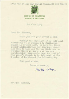 PRIME MINISTER HAROLD WILSON (GREAT BRITAIN) - TYPED LETTER SIGNED 06/05/1979