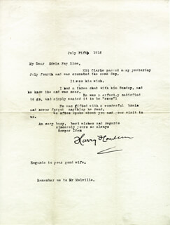 """HARRY """"THE HANDCUFF KING"""" HOUDINI - TYPED LETTER SIGNED 07/05/1918 - DOCUMENT 30673"""