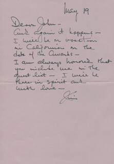 JAMES MITCHELL - AUTOGRAPH LETTER SIGNED 05/19/1985