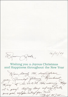 BILL MOOR - AUTOGRAPH LETTER ON CHRISTMAS / HOLIDAY CARD SIGNED 12/17/1984