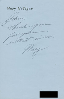 MARY MCTIGUE - AUTOGRAPH NOTE SIGNED