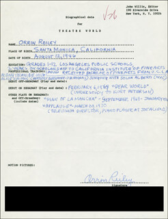 ORRIN REILEY - AUTOGRAPH RESUME SIGNED