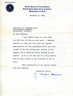 J. EDGAR HOOVER - TYPED LETTER SIGNED 11/05/1948