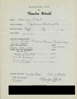 MARILYN CLARK - AUTOGRAPH RESUME SIGNED