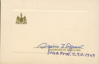 Autographs: VICE PRESIDENT SPIRO T. AGNEW - PRINTED CARD SIGNED IN INK