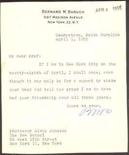 Autographs: BERNARD M. BARUCH - TYPED LETTER SIGNED 04/01/1955