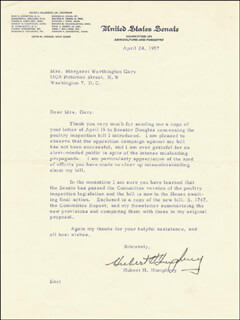 VICE PRESIDENT HUBERT H. HUMPHREY - TYPED LETTER SIGNED 04/24/1957