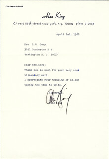 ALAN KING - TYPED LETTER SIGNED 04/02/1968
