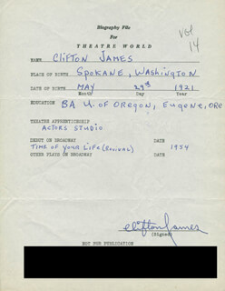 CLIFTON JAMES - AUTOGRAPH RESUME SIGNED